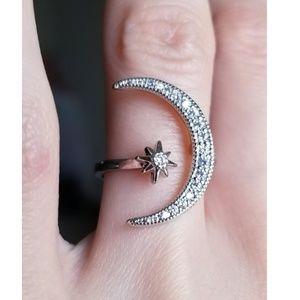Jewelry - 🆕️S925-Star&Moon Adjustable Wrap Around Ring